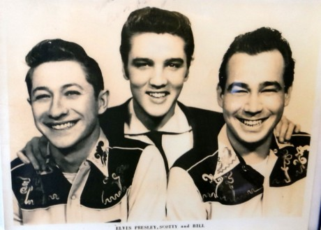Elvis with session guitarist Scotty Moore and base Bill Black.