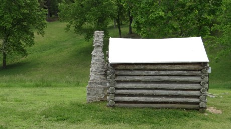 Confederate Garrison cabins with tent roofs built for winter.