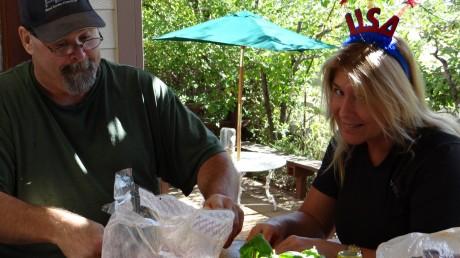 Helping Doug cut veggies for the shish ke bab