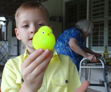 Caleb with his new rubber Easter chick.